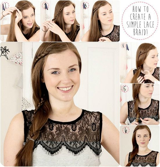 tutorail of simple lace braid around ponytail with clip in hair extension