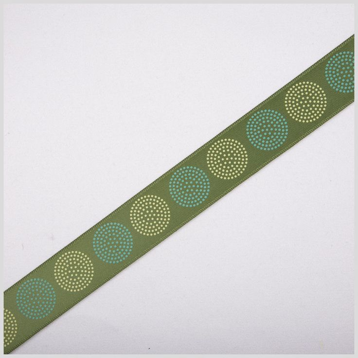 Green Printed Satin Ribbon at Mood