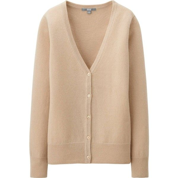 UNIQLO Women Cashmere V Neck Cardigan ($100) ❤ liked on Polyvore featuring tops, cardigans, sweaters, beige, jackets, slim fit cardigan, button down tops, slimming tops, cashmere cardigan and cashmere v neck cardigan