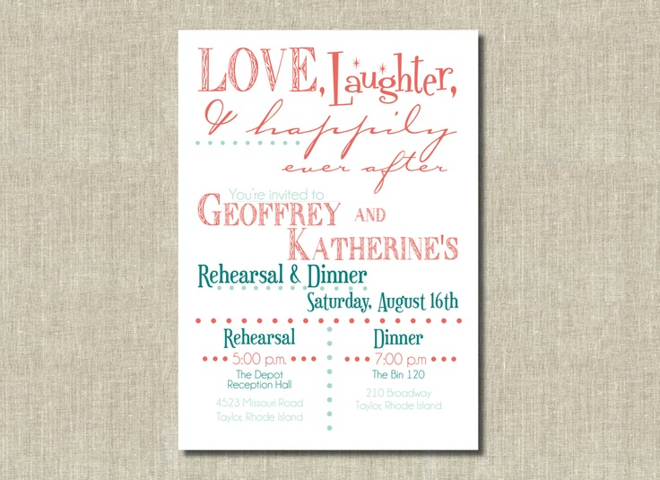 After Wedding Party Invitation: Coral Orange, Mint Green Love, Laughter, Happily Ever