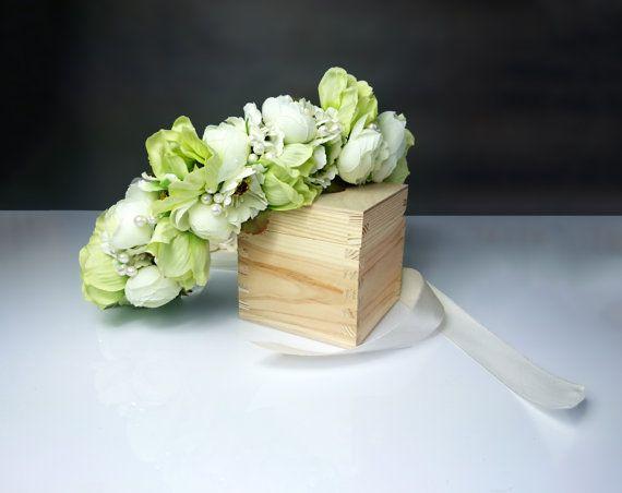 Green flower floral CROWN / WREATH artificial flowers greenery, #greenflowercrown, #weddingcrown
