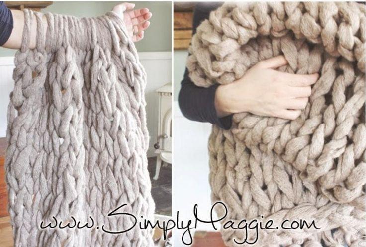 Les 25 meilleures id es de la cat gorie couvertures grosse maille sur pinterest couvertures - Couverture tricot grosse maille ...