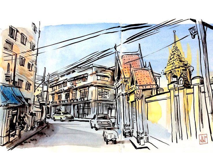 Coretanino sur Instagram: Sketsa tangan kiri saya sewaktu #travelsketch di Bangkok, sekarang sudah dijadikan postcard dan ada di dalam scribblebook @area52brand. Bisa didapatkan di Ruang seni Kolase, Jl. Anggrek 15 Bandung #coretanino #travelsketcher #urbansketch #sketchwalker #bangkok