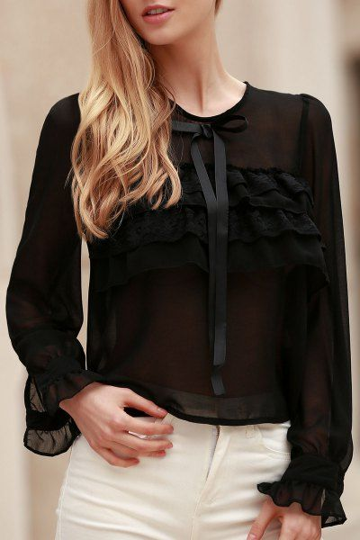 Bowknot Embellished See-Through Blouse BLACK: Blouses | ZAFUL
