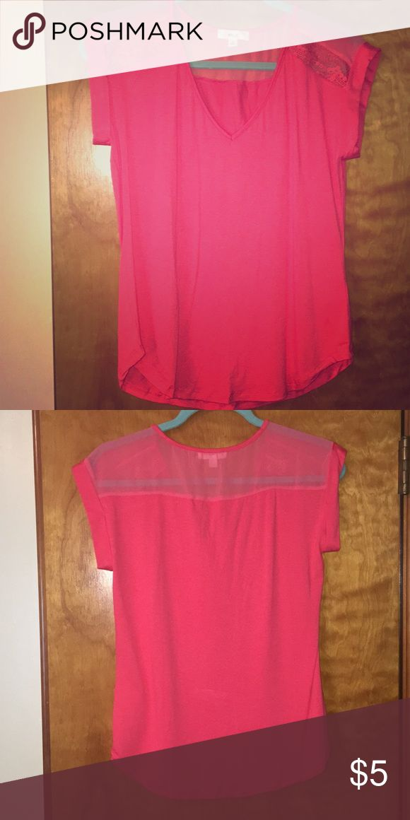 Cute hot pink short sleeve top with sheer Hot pink top with sheer on shoulders. Short sleeve. Worn once size small Tops