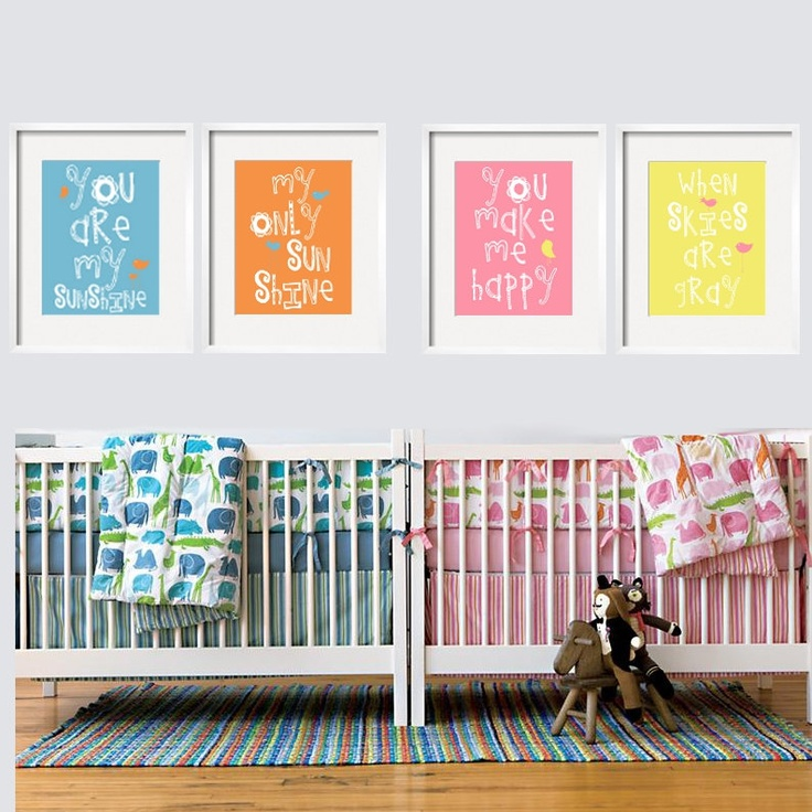 You Are My Sunshine Prints For a Twin Nursery 4 pc by YassisPlace. $88.95, via Etsy.