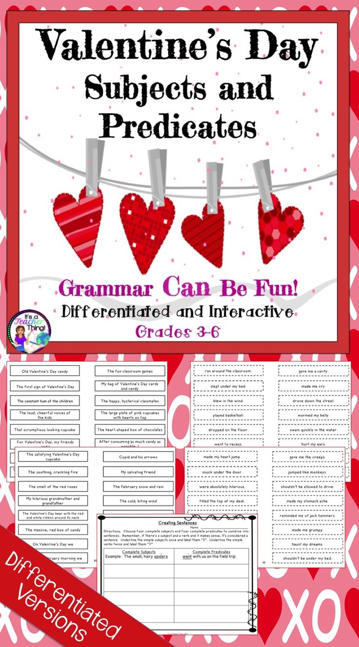 Use the Valentine's Day Subjects and Predicates activities to sneak in seasonal grammar lessons.  Includes  56-differentiated complete subject slips with solid borders, 56-differentiated complete predicate slips with dotted line borders, 1-worksheet for combining the subjects and predicates to create complete sentences, and a list of activities for utilizing Subject and Predicate Slips.