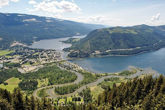 Shuswap Lakes meet with Mara Lake. Sicamous BC Canada