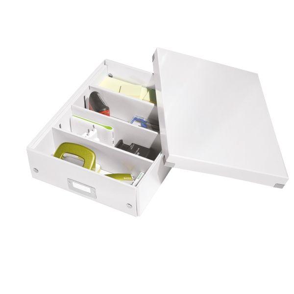 Leitz WOW medium sorteerdoos wit | De Leitz 6058 medium sorteerdoos is te verdelen in 2, 3 of 4 delen waardoor alle spullen gemakkelijk op te bergen zijn. Wanneer u de doos niet meer nodig heeft is deze eenvoudig in te klappen door de drukknoppen los te klikken. Het gelamineerde oppervlak geeft de sorteerdoos een luxe uitstraling en maakt dat stof eenvoudig te verwijderen is.