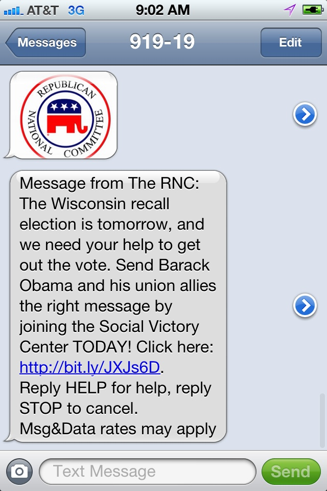 RNC WI Recall Election Day Text Internet Site,  Website, Web Site, Recall Election, Flapsblog Post, Wi Recall, Rnc Wi, 2012 Campaigns