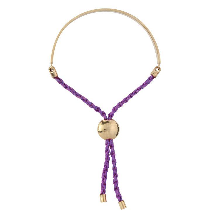 Purple Epilepsy Awareness Friendship Bracelet in Gold