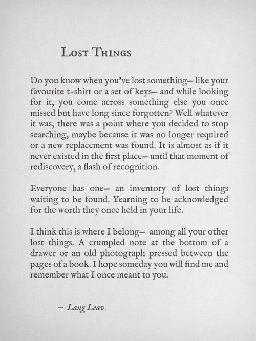 Lost things / Lang Leav quote
