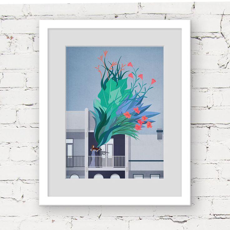 violin art print, modern botanical print, music art, music illustration print, music lover gift, green blue art, violinist art print, garden by commonwild on Etsy