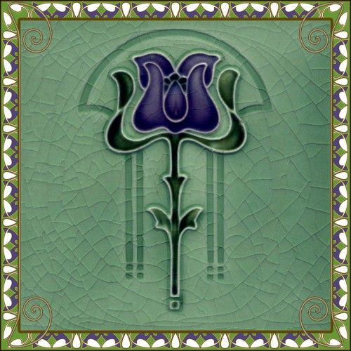 authentic chrome hearts purple and green art nouveau tile  Interiors