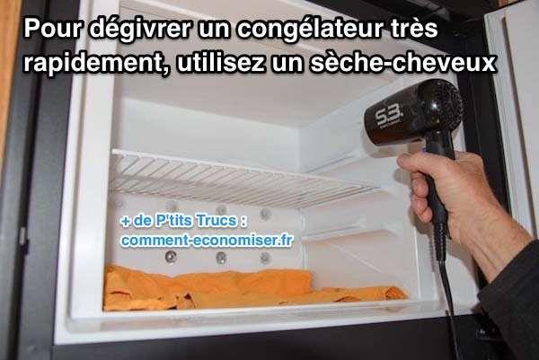 Il existe un truc simple pour dégivrer votre congélateur très rapidement. L'astuce est d'utiliser un sèche-cheveux pour retirer tout le givre en un clin d'oeil.  Découvrez l'astuce ici : http://www.comment-economiser.fr/degivrer-congelateur-tres-rapidement-avec-seche-cheveux.html?utm_content=bufferc783b&utm_medium=social&utm_source=pinterest.com&utm_campaign=buffer