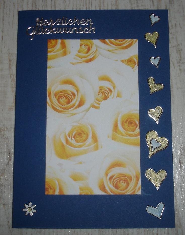 Gelbe Rosen in blauem Rahmen