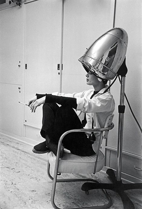 We all need relaxing times at the hairdresser! Check out Audrey Hepburn under the hairdryer smoking a ciggie...!