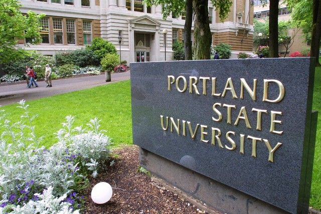 Portland State University, Portland, Oregon. This urban public university is located in the heart of the city along the beautiful South Park Blocks.
