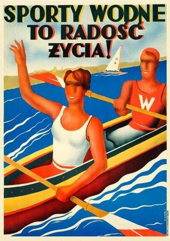 Sporty wodne - przedwojenny.pl Przedwojenny polski plakat z czasów II RP