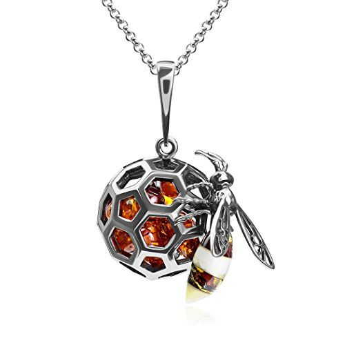 Multicolor Amber Sterling Silver Large Pendant Necklace Chain 46 cm zIRyLMJFJ