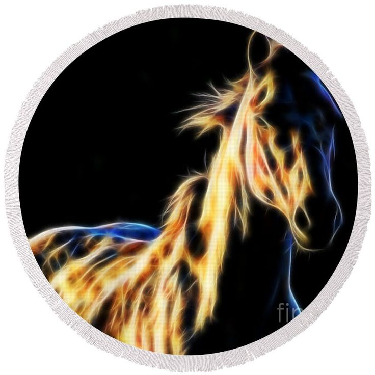 Horse Fractal round beach towel by Tracey Lee Art Designs