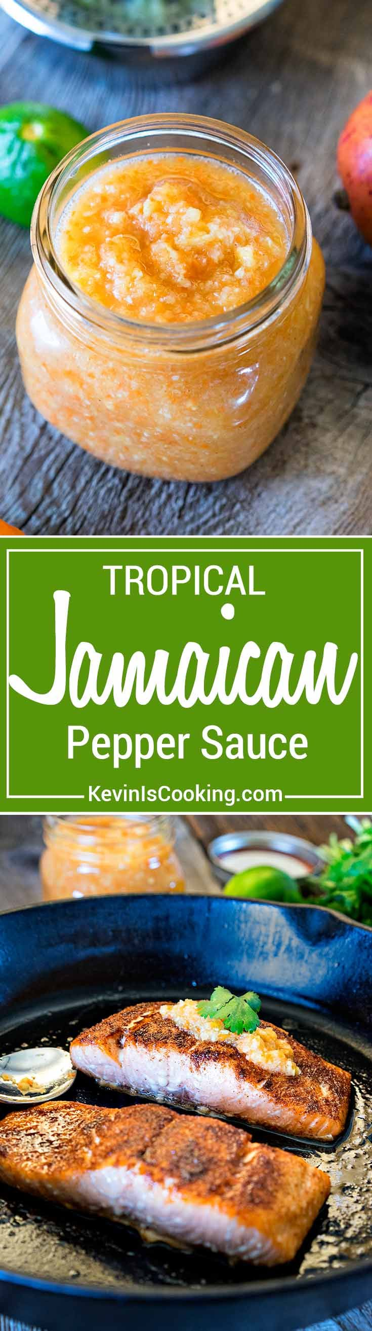 This Jamaican Pepper Sauce brings the heat with habaneros, mango, pineapple and cumin, but the secret flavor weapon ingredient I like to add is a carrot. via @keviniscooking