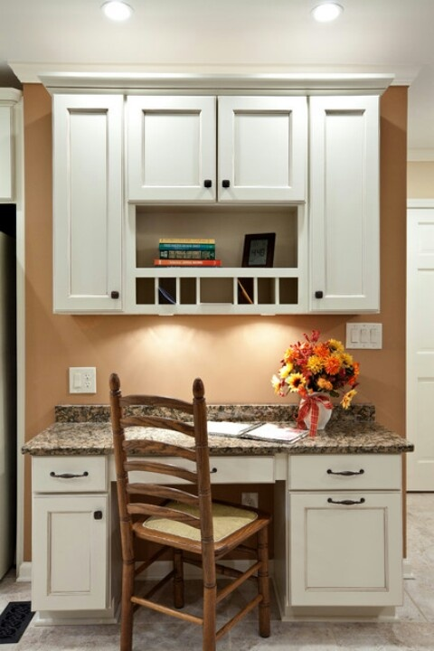 Built in kitchen desk kitchen ideas pinterest dark - Kitchen built in cupboards designs ...