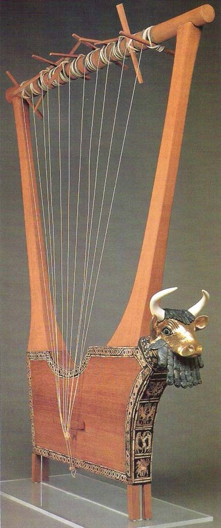 Bull Lyre , ancient near east, wood sculpture decorated with metals shell and lapis lazuli, from the tomb of Queen Puabi, Ur.  And is currently in the Penn. Museum in Philadelphia, it's fits because it exemplifies the skills of the artist of Ur