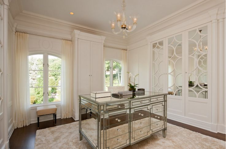 Kitchen island table with shades of ivory - Mirrored Closet Island Dressing Room Pinterest