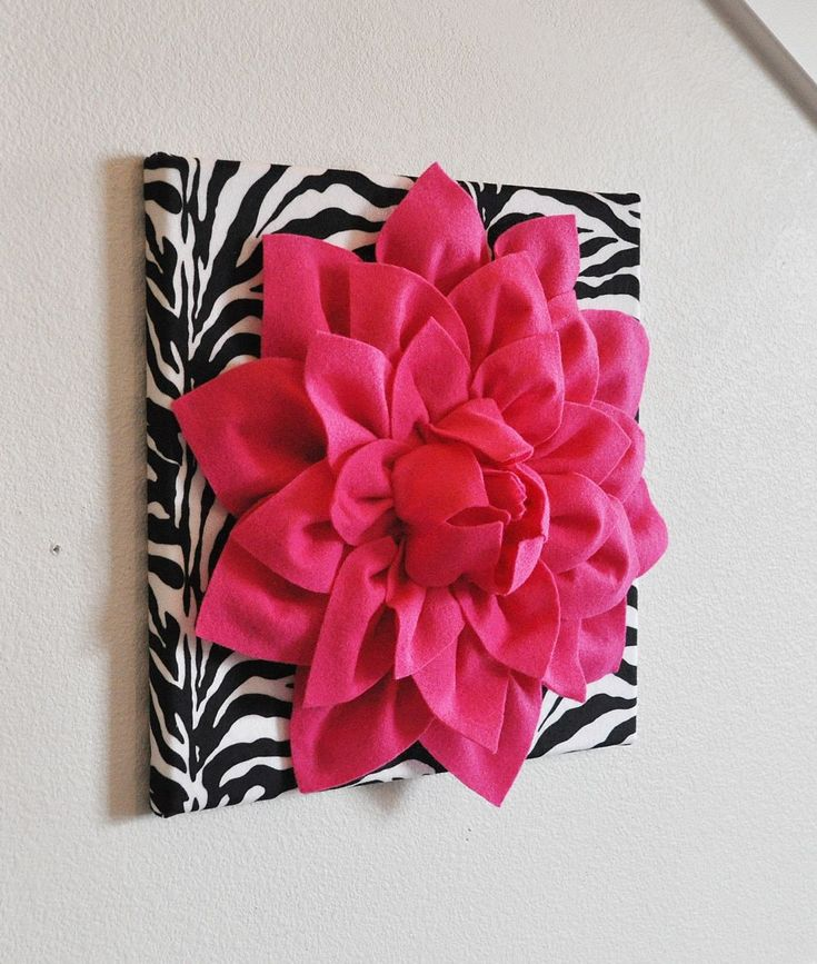 "Hot Pink Wall Hanging -Hot Pink Dahlia on Zebra Print 12 x12"" Canvas Wall Art- Baby Nursery Wall Decor- #Zebrabedrooms"