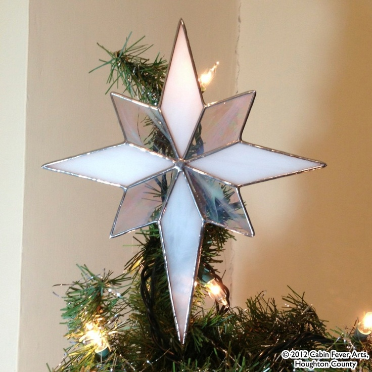 OPAL WHITE Christmas Star in Stained Glass, Tree Topper