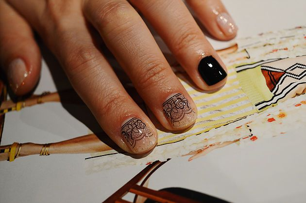 Lace and sparkle Nail Art  Manicure design