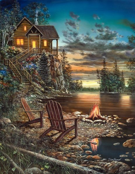 """""""Summer Pleasures"""" ~~ painting by Jim Hansel ~~ I absolutely love his work. There is something so calming about his art. I could pin every piece of his :) Strongly recommend going to his website: www.jimhanselart.com and looking at his work and listening to him tell his story and reading about him. He's legally blind!!!"""