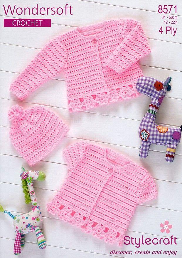 Crochet Cardigans & Hat in Stylecraft Wondersoft 4 ply (8571)   Crochet Patterns   Crochet   Deramores