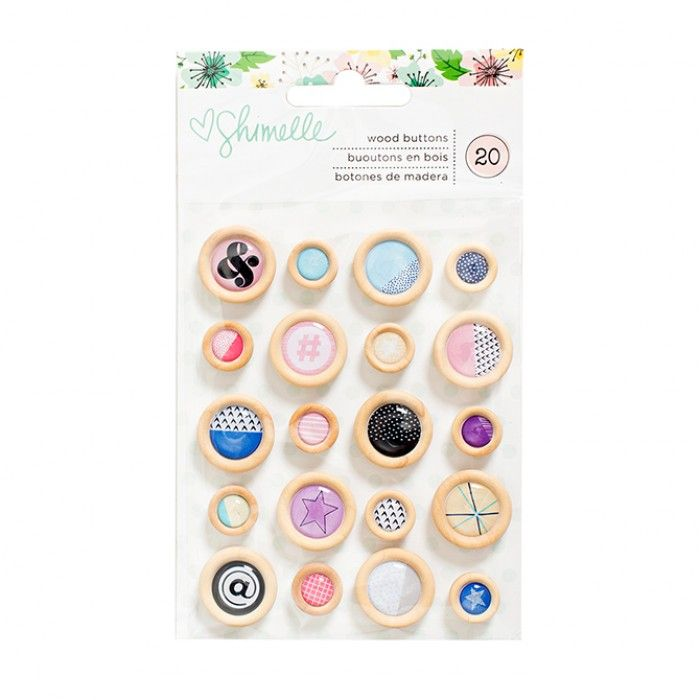 American Crafts - Shimelle Little by Little - Wooden Buttons