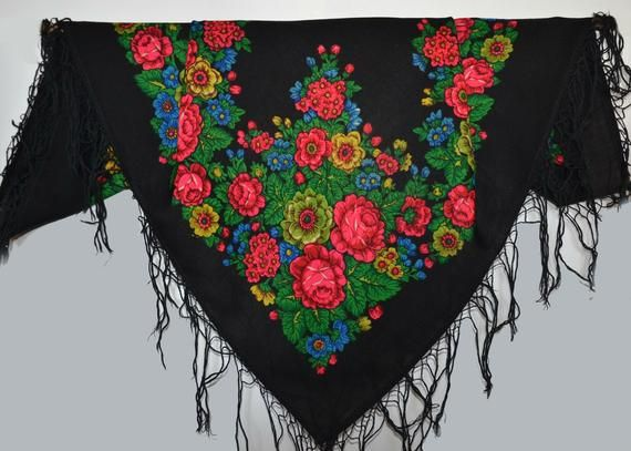 Extra Large XL Scarf Square Silky Green red multicolour Ethnic Pattern Statement