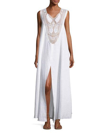 MIGUELINA LANA LACE-BIB MAXI DRESS, PURE WHITE. #miguelina #cloth #