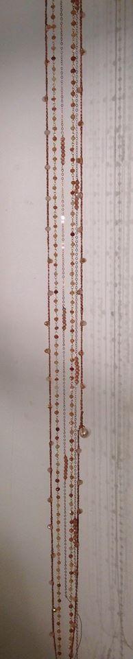 long necklaces handmade silver pink cubic zirconia crystals and silk - lunghe Collanine fatte a mano in argento rosato con zirconi e in seta con luminosi Cristalli!