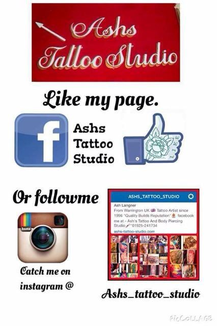 Ashs tattoo studio warrington 01925341734