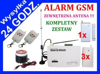 OKAZJA !!! BEZPRZEWODOWY ALARM GSM 4 CZUJKI BYTOM