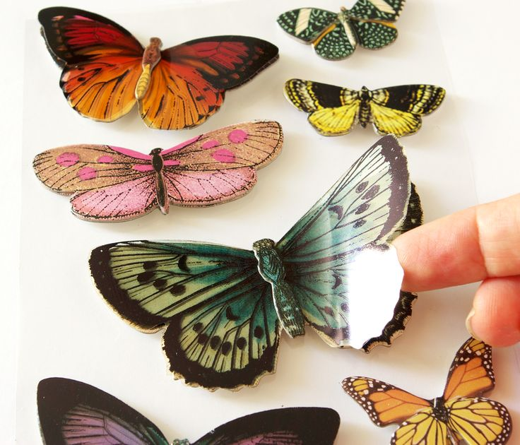 Adhesive shipboard and vellum butterfly stickers by K&Company. ©MonquiShop