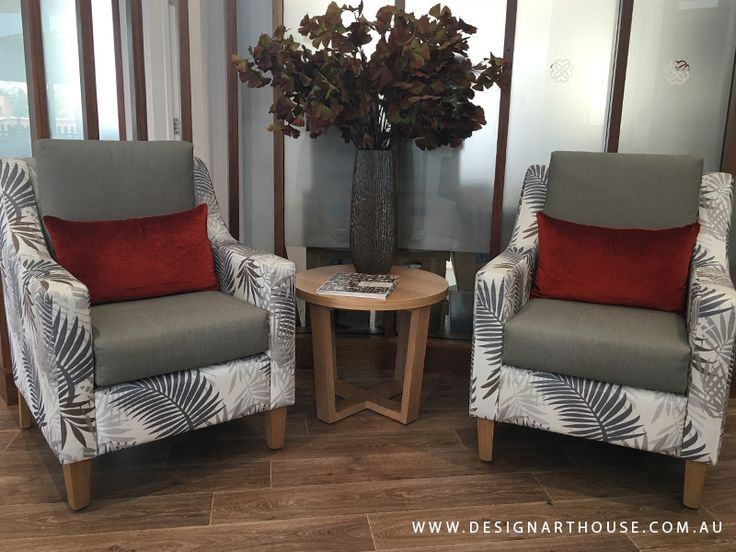 Aged Care reception chairs featuring a two fabric design custom made armchairs.