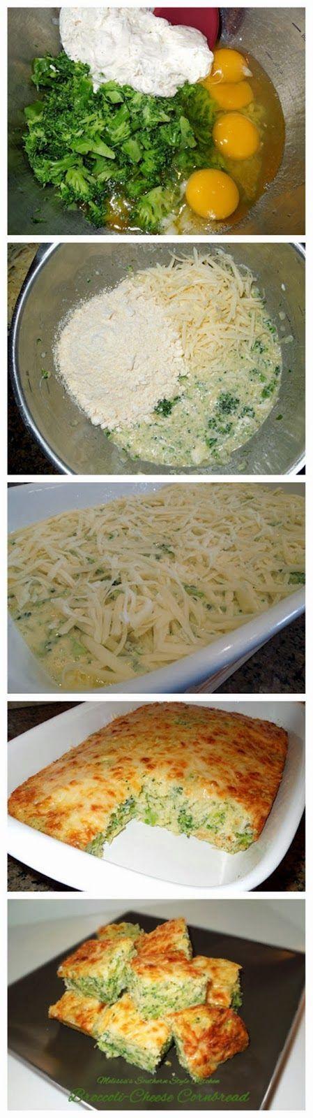 Broccoli-Cheese Cornbread | Looks tasty! | Pinterest