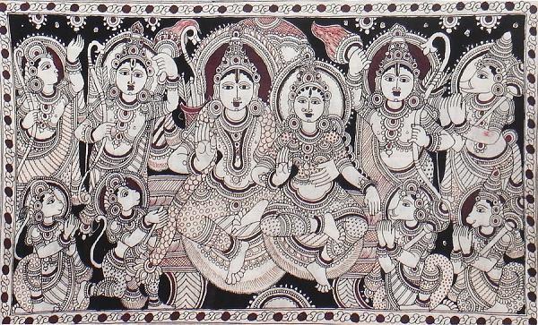 Indian Painting Styles...Kalamkari Paintings (Andhra Pradesh)-ram-darbar-dn03_l.jpg