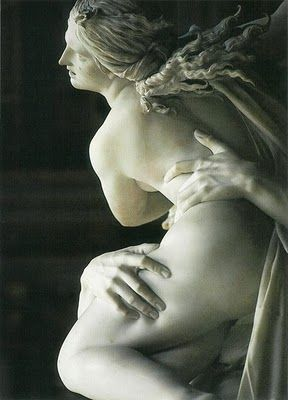 Pluto and Proserpina/Persephone 1621 Bernini. Look at his hand in her flesh. How the heck does he carve that? I mean it's ridiculous!