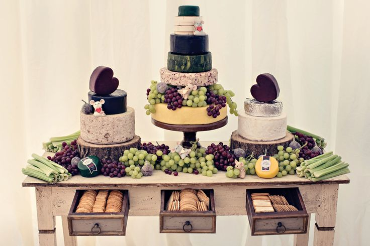 Cheese Tower Wedding Cakes Dessert Bar | A Rustic Farm Wedding | Botanical Theme | Horse And Cart | Incredible Dessert Table By Couture Cakes | Images From Dottie Photography | http://www.rockmywedding.co.uk/katie-ian/