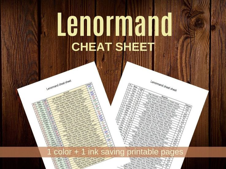 Lenormand cheat sheet 2 printable worksheets pdf cheat