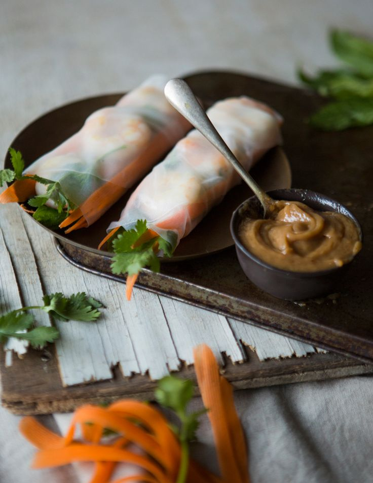 Rice Paper Rolls with Satay Dipping Sauce