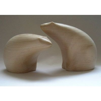 wooden polar bears, carved in sycamore