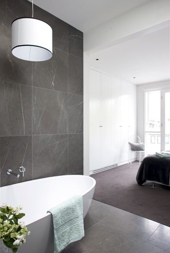 Pietra grey marble - consider grey flooring with large square tiles - for the ensuite floor and shower recess